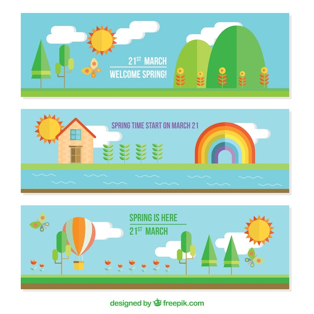 Landscape banners in flat design Free Vector