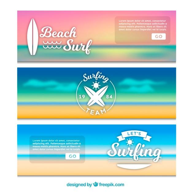 Landscape banners of surf