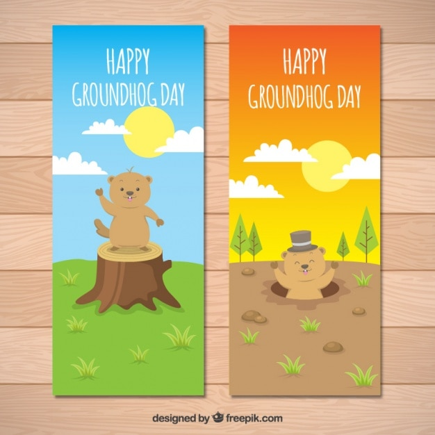 Landscape banners with groundhog