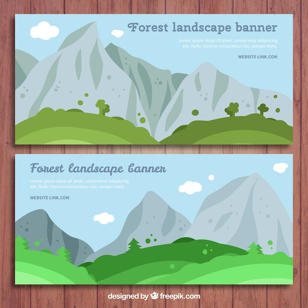 Landscape banners with mountains Free Vector