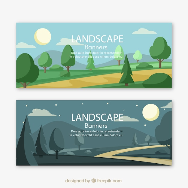 Landscape banners with trees and path Free Vector