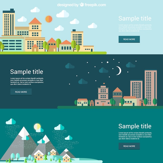 Landscape banners Free Vector