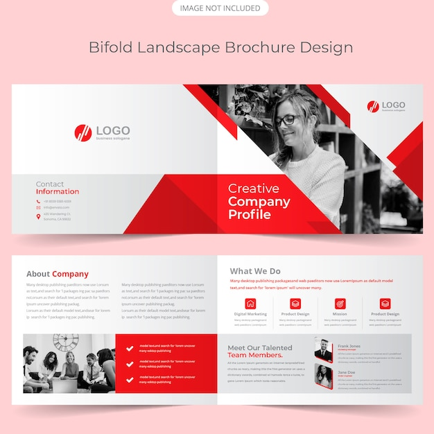 Landscape bifold brochure template
