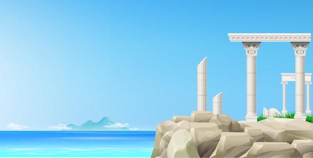 Пейзаж синего моря и каменные античные руины Premium векторы