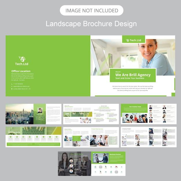 Landscape brochure template Premium Vector