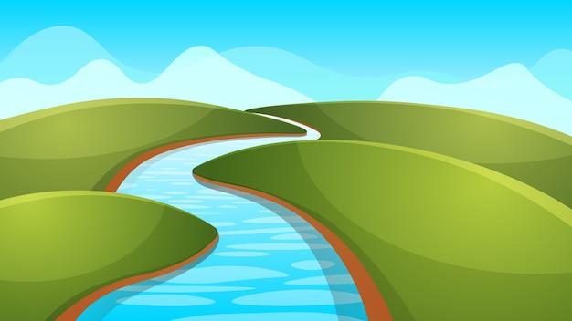 Landscape Cartoon, Illustration. River, Sun, Hill. Vector