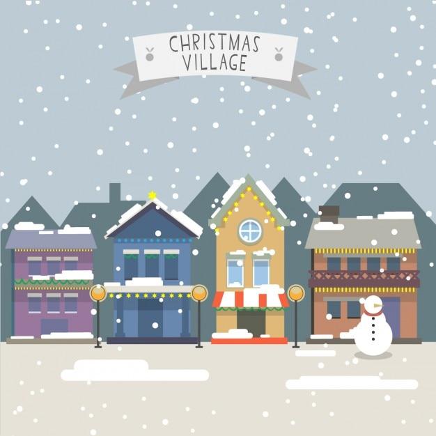 Landscape of christmas village Free Vector