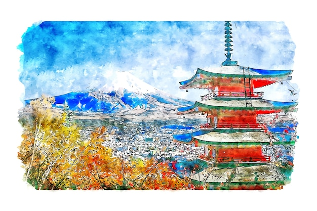 Landscape chureito pagoda japan watercolor sketch hand drawn illustration Premium Vector