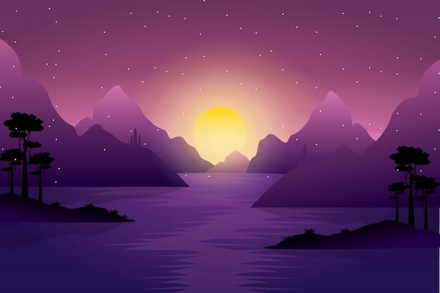 Landscape of dawn sun over the mountains Premium Vector