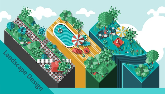 Landscape design concept Free Vector
