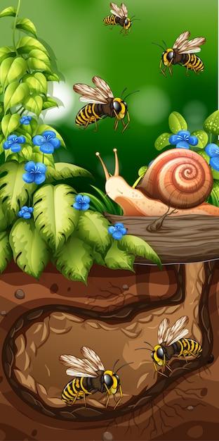 Landscape design with bees underground Premium Vector