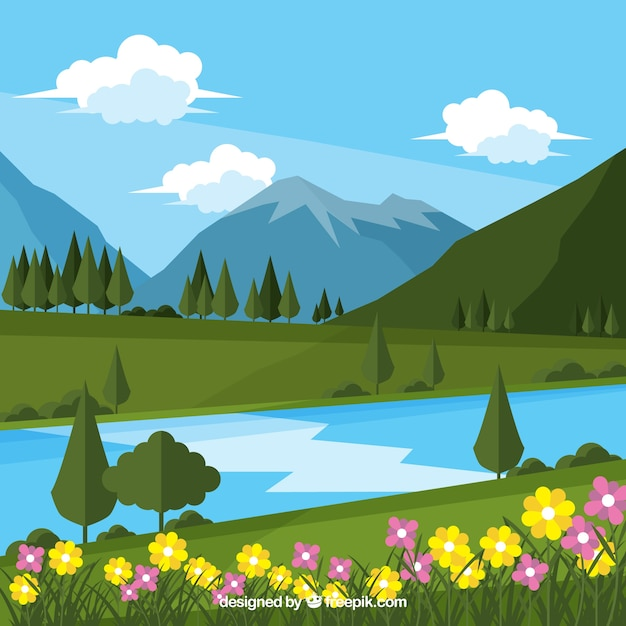 Landscape flower background and river with\ mountains