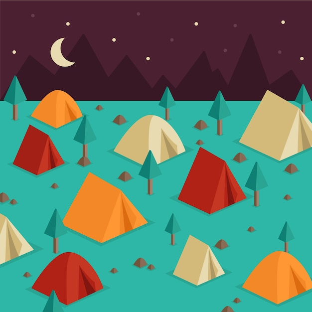 Landscape full camping tents background