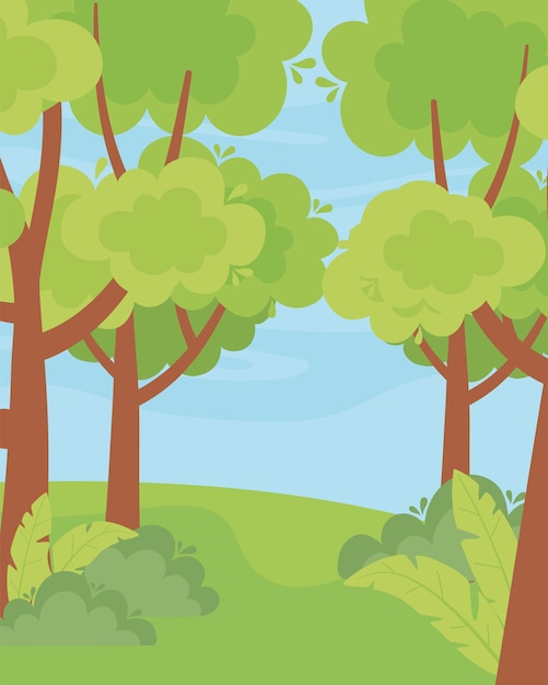 Landscape greenery trees bushes grass nature sky illustration Premium Vector