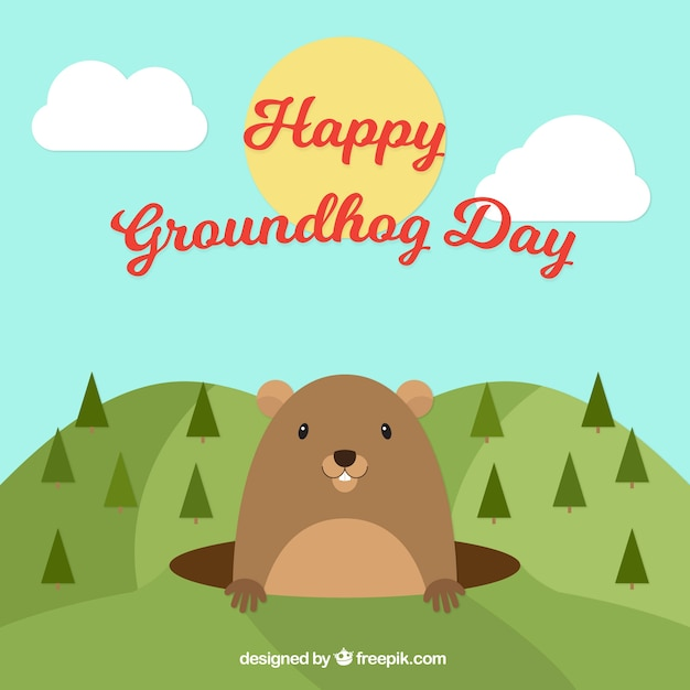 Landscape groundhog day background with\ pines