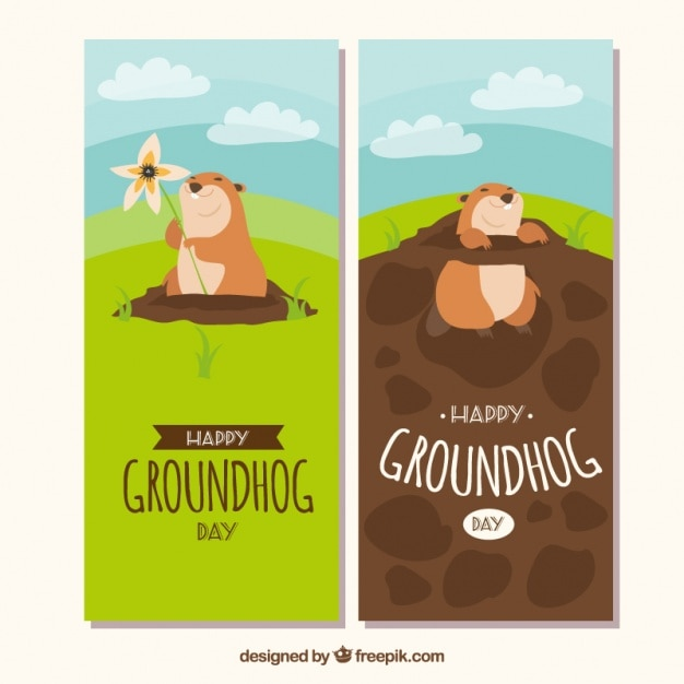 Landscape groundhog day banners