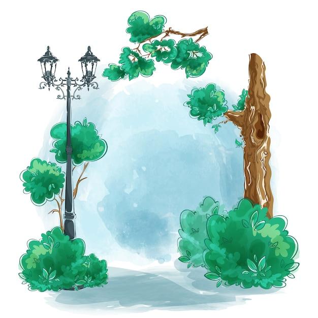 Landscape hand-painted watercolor with copyspace. Premium Vector