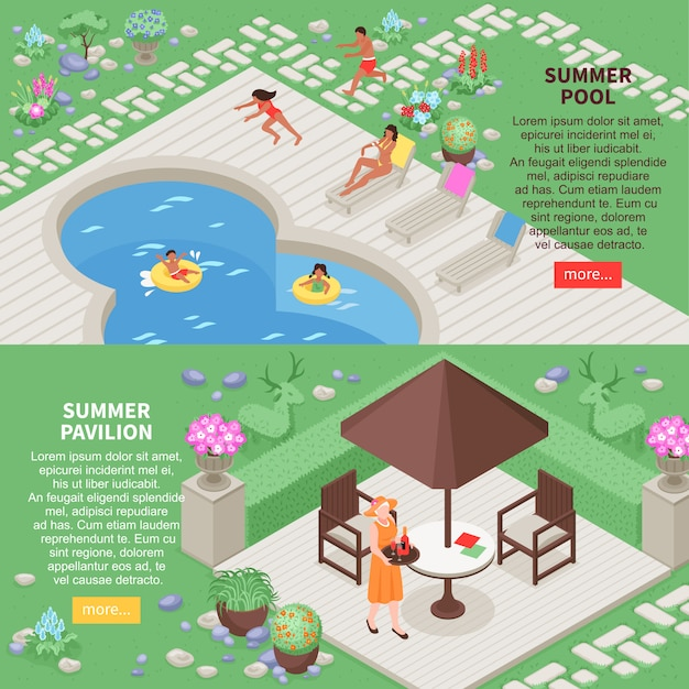 Landscape horizontal banners set with summer pool symbols isometric isolated Free Vector