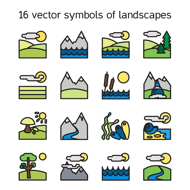 Landscape icons collection. nature symbols and paysages in rectangle form. Premium Vector