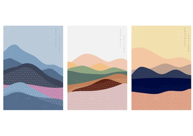 Landscape illustration with japanese style Premium Vector