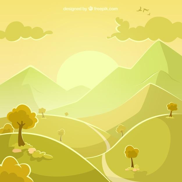 Landscape in green tones Free Vector