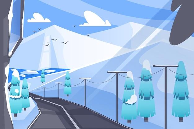 冬の背景の風景 Premiumベクター