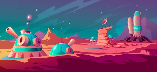 Landscape of mars surface with colony buildings Free Vector