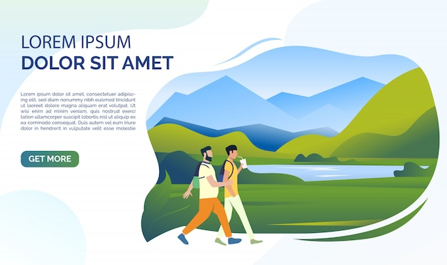 Landscape, mountain lake, meadow, people and sample text Free Vector
