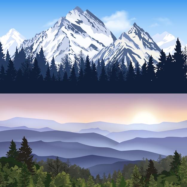 Paesaggio di montagne banner Vettore gratuito
