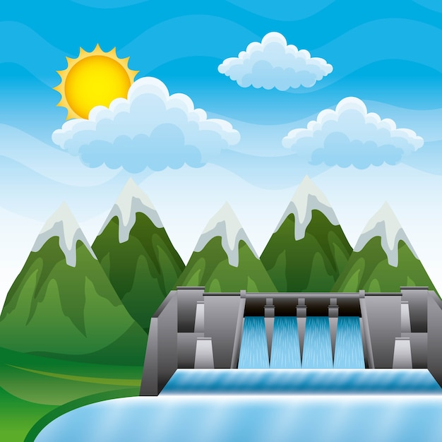 Landscape mountains with dam hydroelectric Premium Vector
