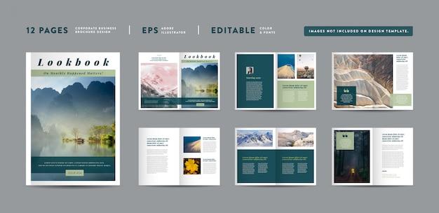 風景自然最小限の雑誌デザイン|エディトリアルルックブックのレイアウト|ファッションと多目的ポートフォリオ|フォトブックデザイン Premiumベクター