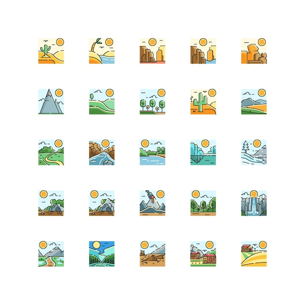 Landscape nature view icon set vector isolated Premium Vector