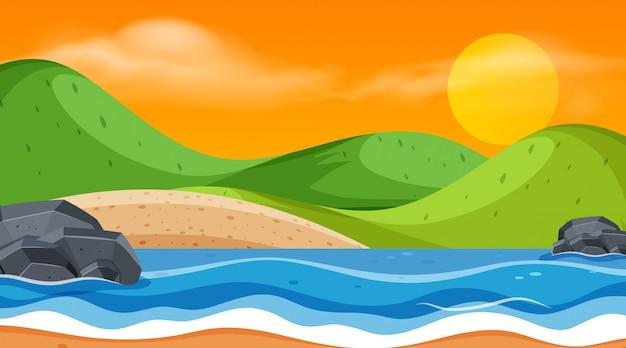 Landscape of ocean at sunset Premium Vector