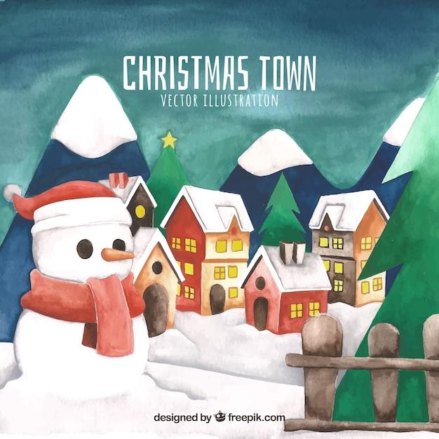 Пейзаж рождественского города с снеговиком Бесплатные векторы
