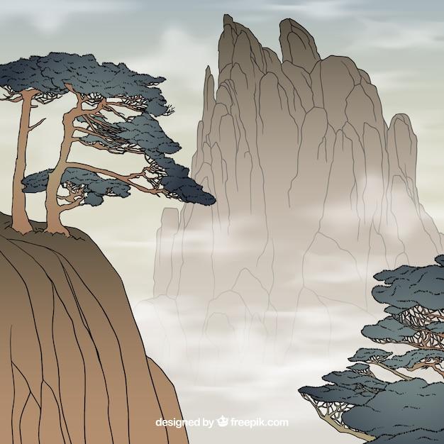 Пейзаж скал на туманный день Бесплатные векторы