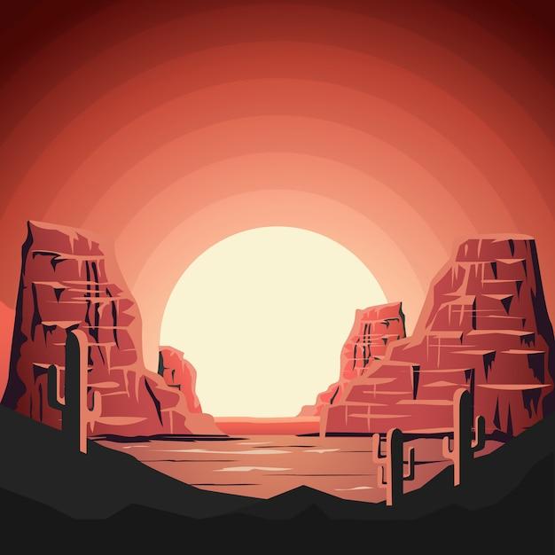 スタイルの山と砂漠の風景。ポスター、バナーの要素。 Premiumベクター