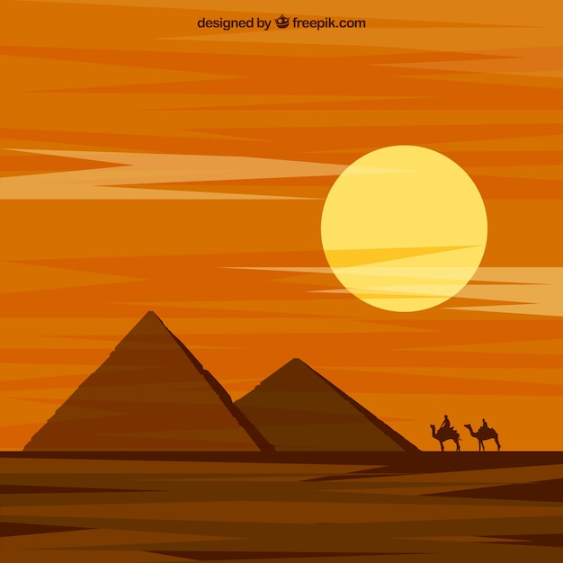 Landscape of desert with pyramids