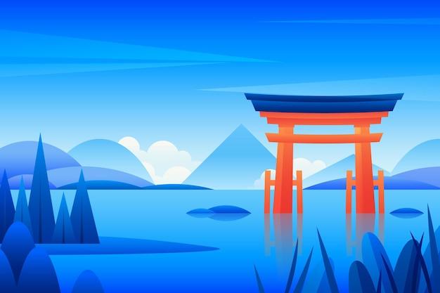 일본 도리이 게이트의 풍경 무료 벡터