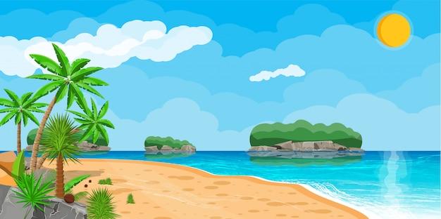 Landscape of palm tree on beach Premium Vector