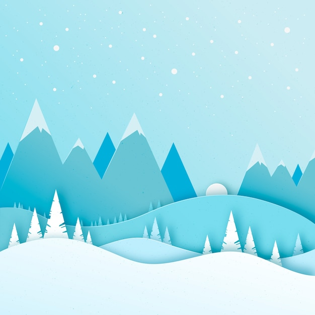 Landscape paper style winter Free Vector