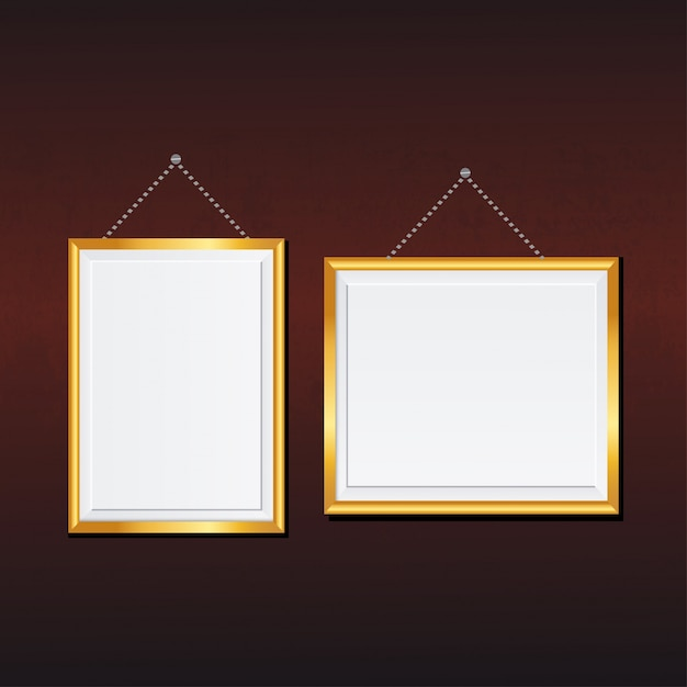 Landscape and portrait picture frames with golden boarders Free Vector