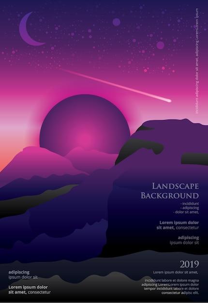 Landscape poster template graphic design Premium Vector