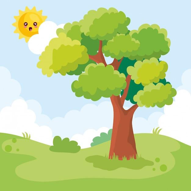 木と太陽のキャラクターのある風景シーン 無料ベクター