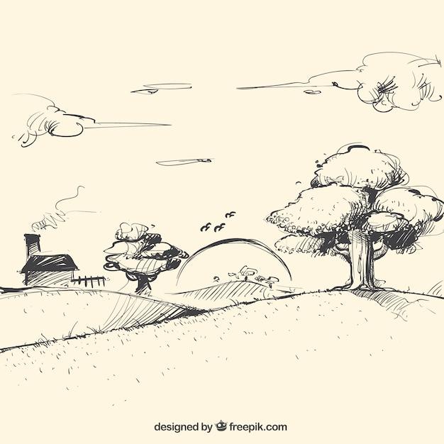 Landscape sketch at dusk Free Vector