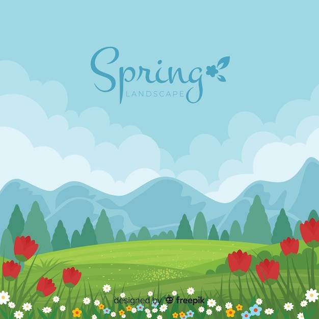 Landscape spring background Free Vector