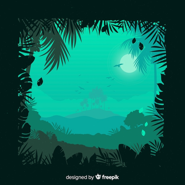 Landscape tropical forest background Free Vector