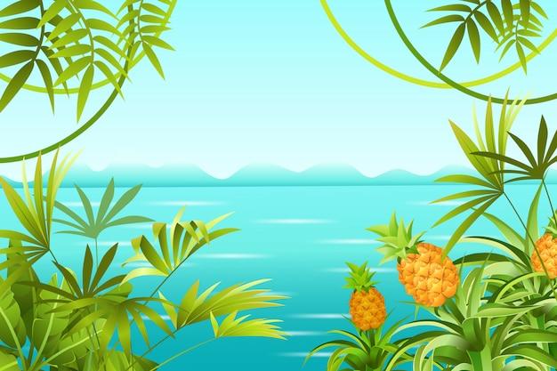 Пейзаж тропических джунглей и море. Бесплатные векторы