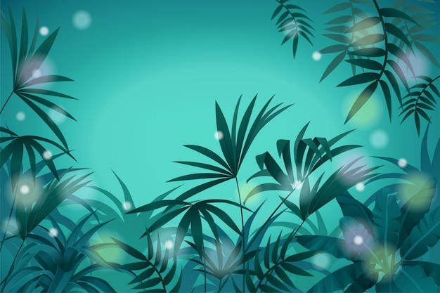 Landscape tropical jungle and night light background Premium Vector