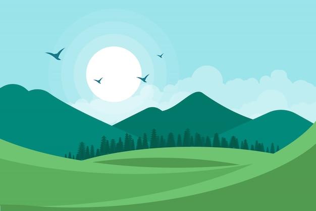 Landscape Illustration Vector Free: Landscape Vector Illustration Background Vector