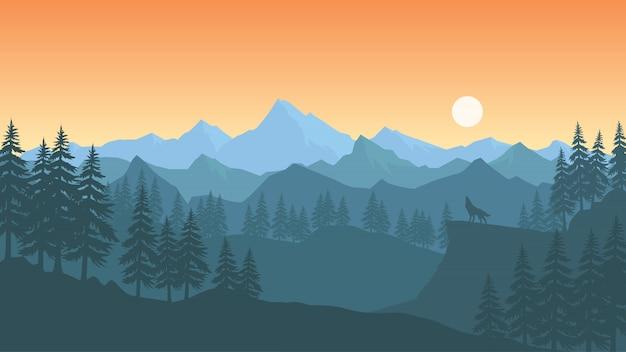 Landscape wallpaper in flat design | Premium Vector